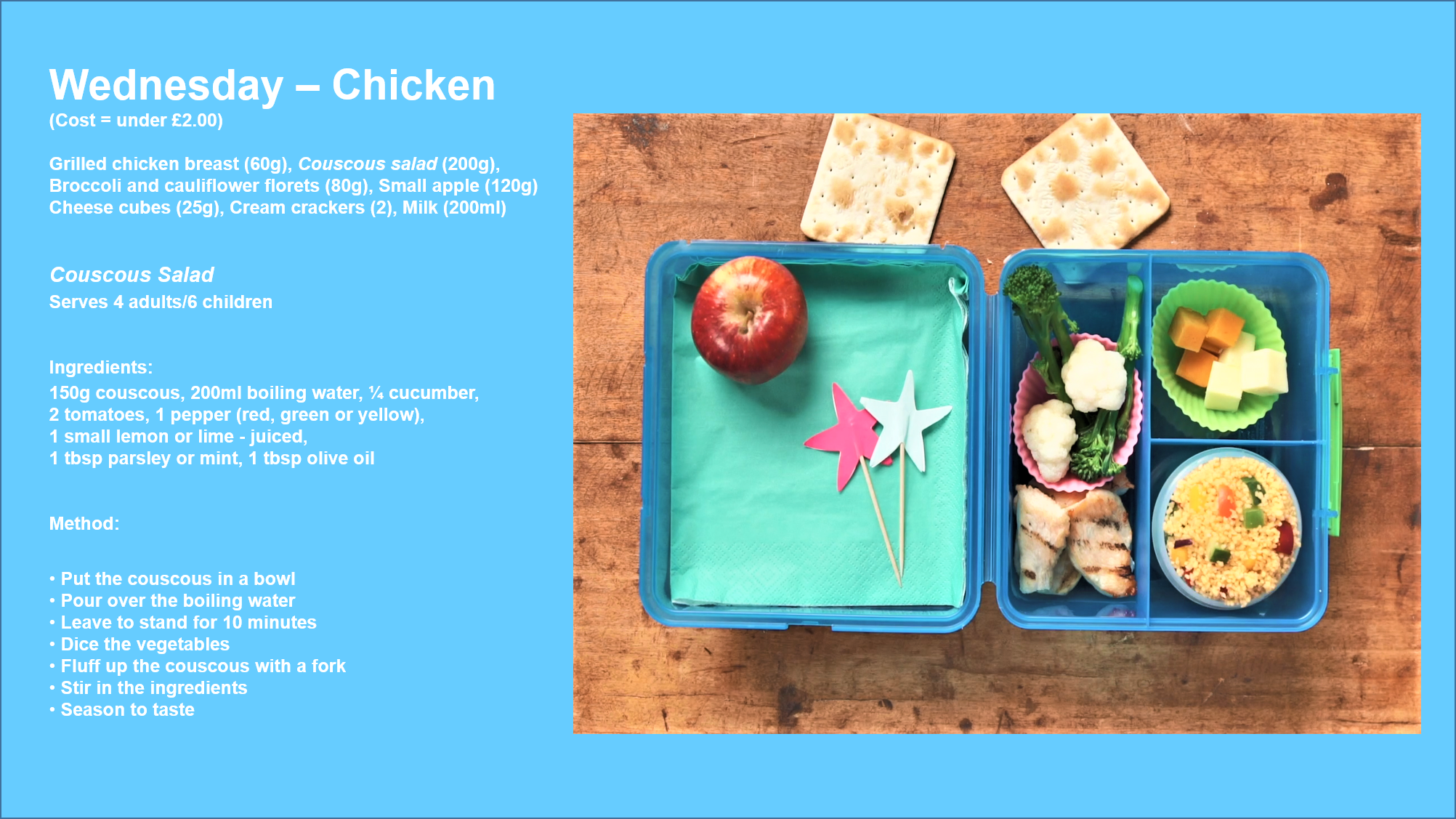 School lunchbox with chicken