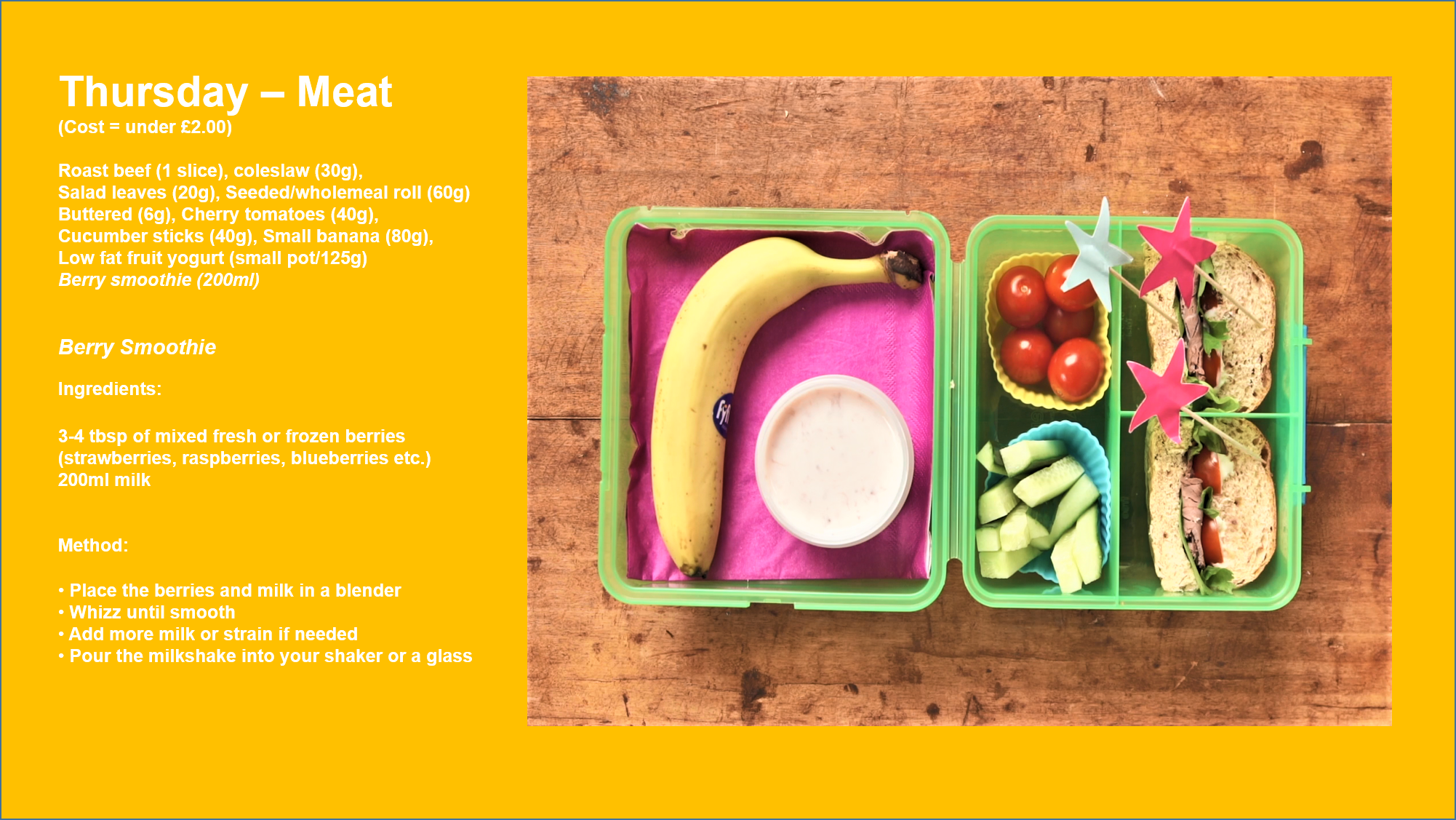 School lunchbox with meat